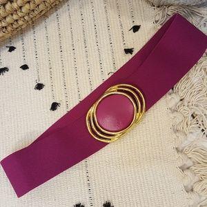 Vintage Magenta Purple Elastic & Gold Waist Belt